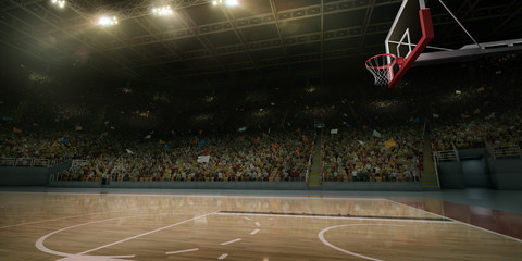 Professional basketball arena. Tribunes with sport fans. 3D illustration