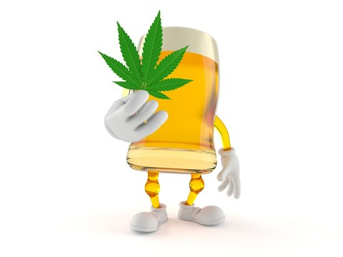 Beer character holding cannabis leaf