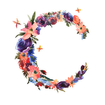 Floral Watercolor Letter C Made of Flowers, Isolated Summer Letter on White Background