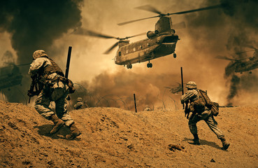 Military forces and helicopters in battlefield