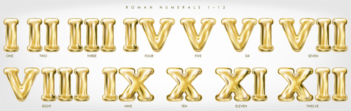 Roman numerals 1-12 by golden foil balloons