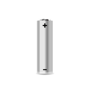 Realistic AA alkaline battery on white