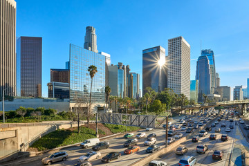 Los Angeles, California downtown cityscape panorama.