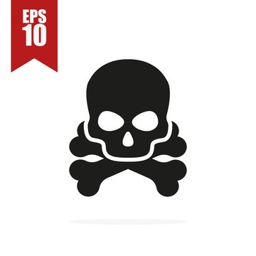 skull and bones icon with shadow, vector