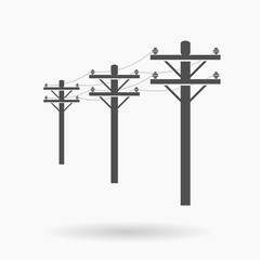 High Voltage Connected Power lines Icon illustration vector