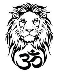 Lion and the symbol of Hindu (OM), drawing for tattoo, on a white background