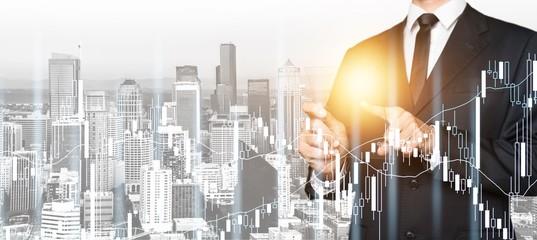 Business assistance businessman career cityscape design double