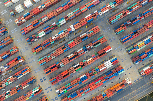 Container ship in export and import business logistics and