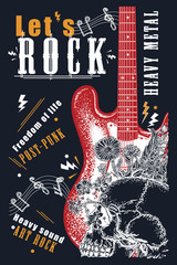 Rock music. Electro guitar and skull. Let's Rock slogan. Modern musical print