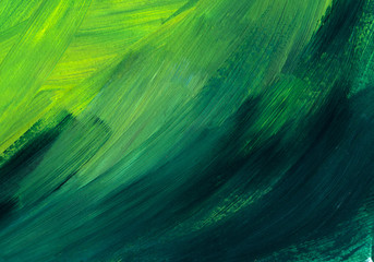 Macro texture of painted surface. Brush marks on the paint. Chaotic strokes of gradient grassy, green, emerald color.