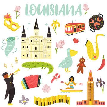Set of cartoon icons, elements of Louisiana state