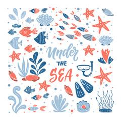 Under the sea illustration. Set of hand drawn elements
