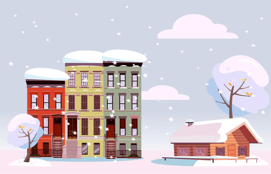 Winter Urban and Countryside Landscape. Citiscape versus suburb. Urban landscape with three-story houses and suburb with private house. Flat illustration. Cloudy snowy day