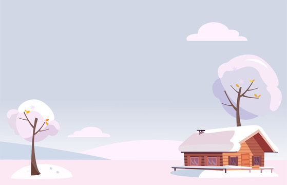 flat white snowy winter landscape with small country house and snow covered trees on the snow-covered hills in the snowing woods. xmas background in cartoon style. Free space for your text