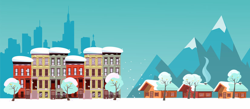 Winter Urban and Countryside Landscape. City Village Real Estate. Citiscape vs suburb. Urban landscape with three-story houses and suburb with private houses on background mountains. Snowy Flat