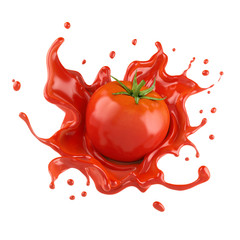 Fototapeta Red tomato with juice or ketchup splash isolated on white background,3d rendering. obraz