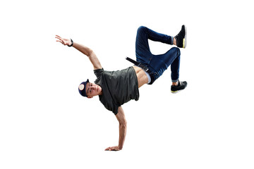 Isolated male Hip Hop Dancer. Beautiful guy dancing on white background Wall mural
