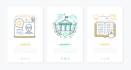 Online education - set of line design style vertical web banners
