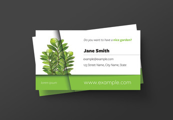 Business Card Layout with Plant Image