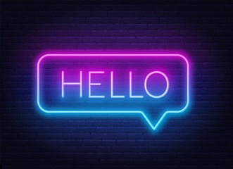 Neon gradient sign of word hello in speech bubble frame on dark background. Light banner on the wall background.