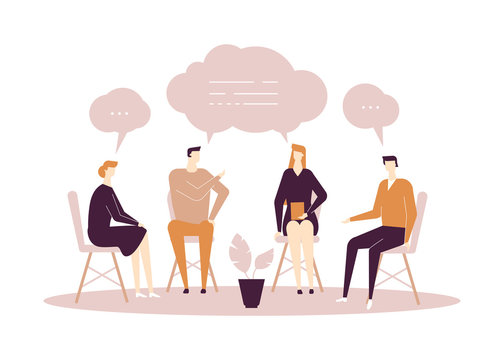 Group therapy - modern flat design style illustration