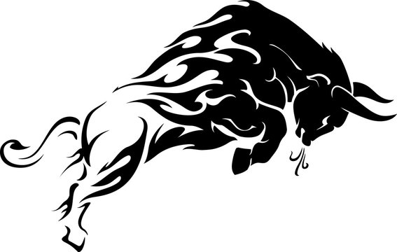 Bull Flame Tattoo Leap Side View