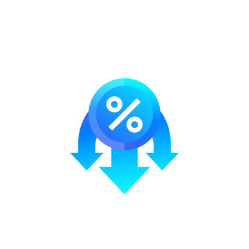 reduced rate, percent down icon