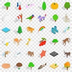 Zoo icons set. Isometric style of 36 zoo vector icons for web for any design