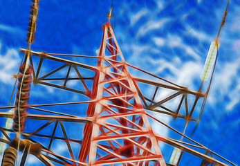 fractal picture of electric tower high voltage
