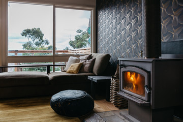 Cosy living room with a fire in winter