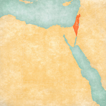 Map of Egypt - Israel with Palestine