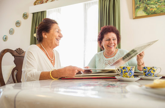 Happy Elderly Ladies Sitting Together
