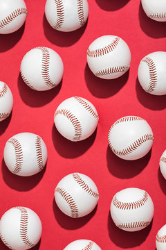 Overhead Pattern Of Many Baseballs
