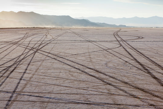 Tire tracks on Bonneville Salt Flats at dusk, Speed Week, Utah