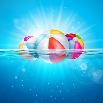 Vector Summer Illustration with Colorful Beach Ball on Underwater Blue Ocean Background. Realistic Summer Vacation Holiday Design for Banner, Flyer, Invitation, Brochure, Poster or Greeting Card.