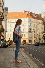 Tourist woman on street
