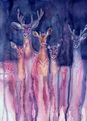 Dreamy drawing of violet deers by blue background