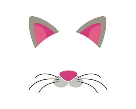 cat face elements set. Vector illustration. Animal character ears and nose. Video chart filter effect for selfie photo