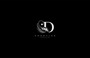 Initial D letter luxury beauty flourishes ornament monogram logo