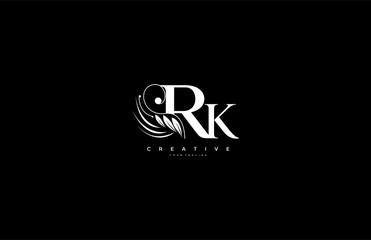 Initial RK letter luxury beauty flourishes ornament monogram logo