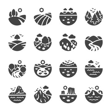 landscape and nature icon set,vector and illustration