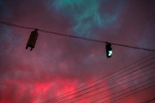 Pink and aqua sky