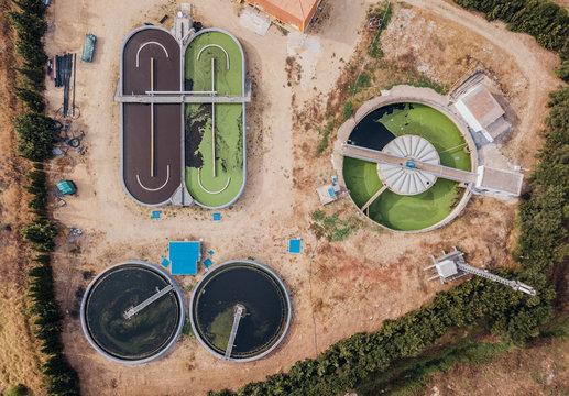 Aerial view of water tanks