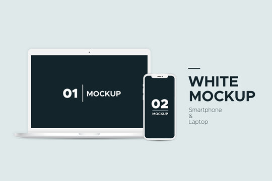 Mobile smartphone and laptop white mockup with blank screen isolated on background