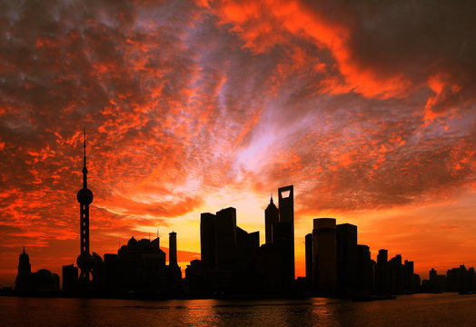 Shanghai Pudong cityscape at dawn viewed from the Bund
