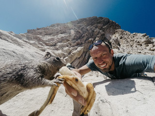 Selfie with a gopher eating banana