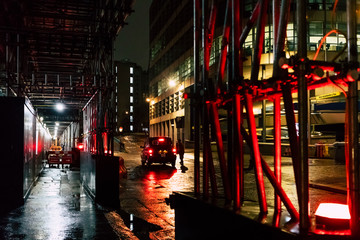 Building site in London during a rainy night. UK.