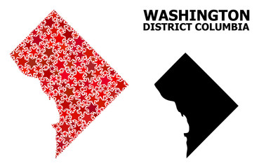 Red Star Pattern Map of District Columbia