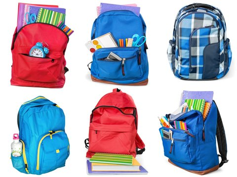 Colorful school supplies in backpack, collage on white background