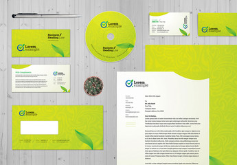 Green Corporate Identity Stationery with Green Floral Design Layout